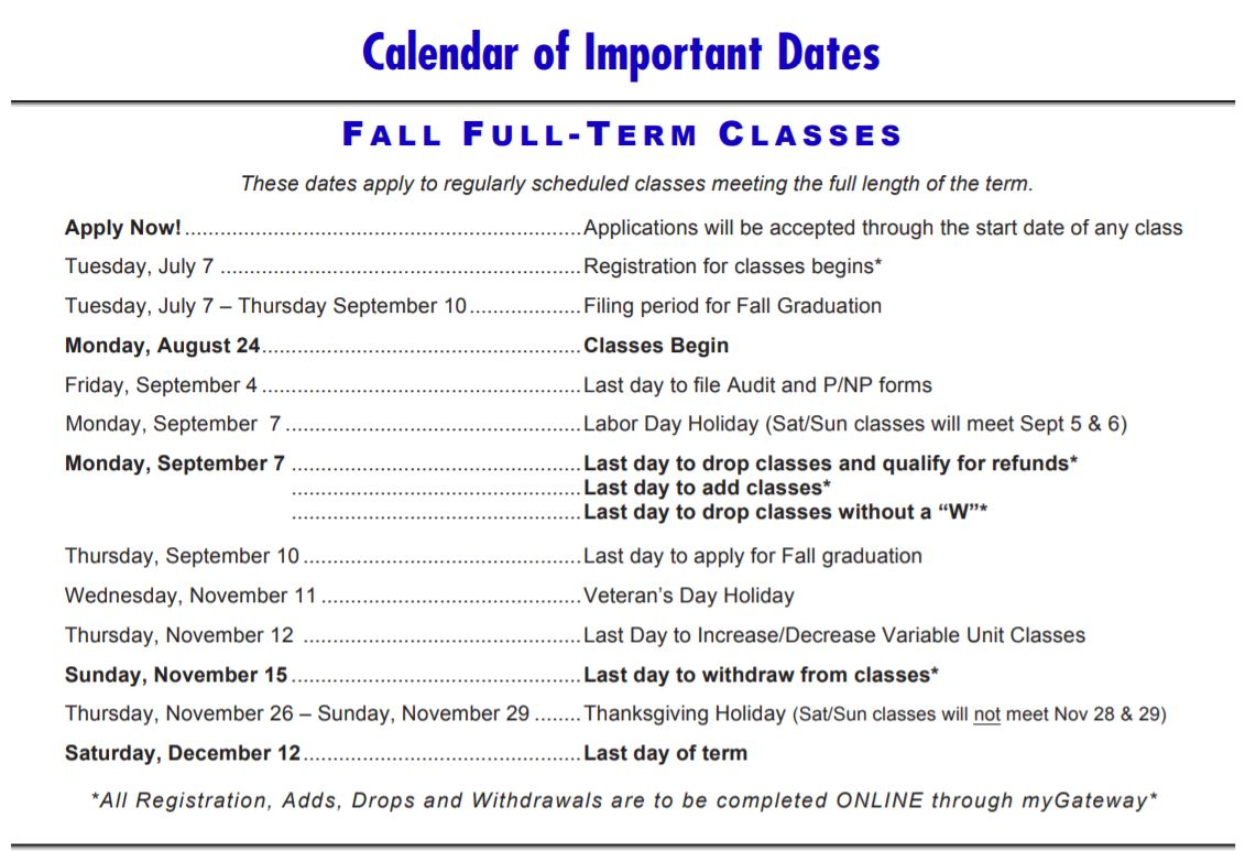 List of important Fall 2020 dates