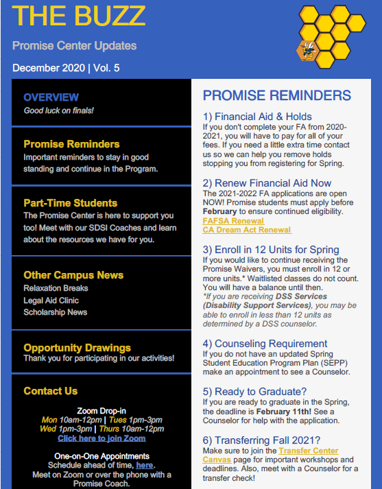December Newsletter Screenshot with a blue, black, and white background and yellow accents. Buzzy is hiding in one of the honeycombs.