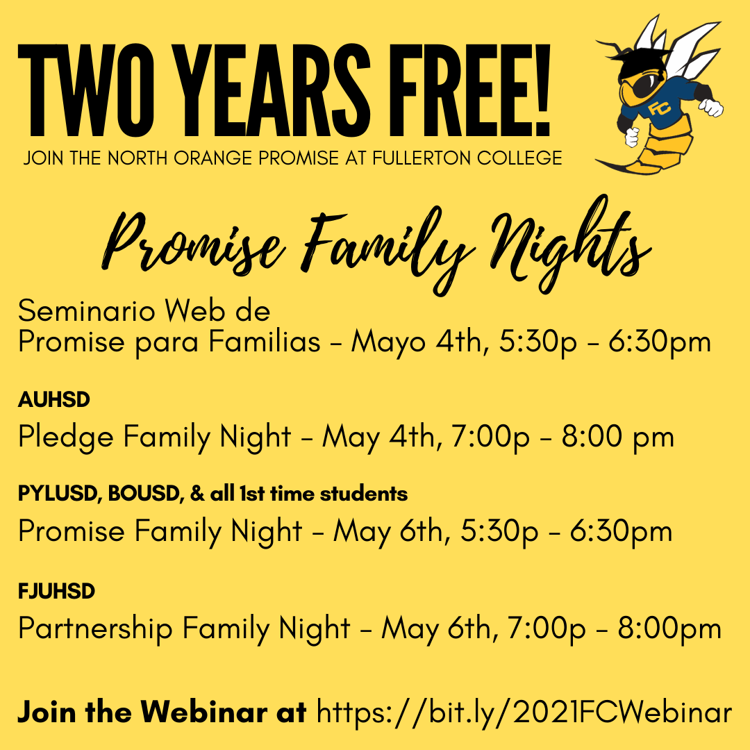 Description of Family Webinars with a yellow background and Buzzy with a graduation cap.
