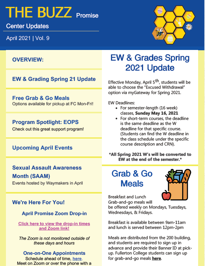 Screenshot of the April Newsletter