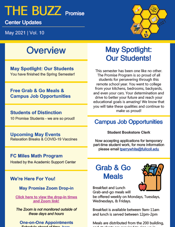 Screenshot of may newsletter